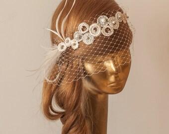 Lace BIRDCAGE VEIL, Vintage Style Birdcage Veil. Ivory Bridal FASCINATOR.