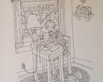 Original Pen and Ink Drawing.  Midnight Reader.  8x10 inches.