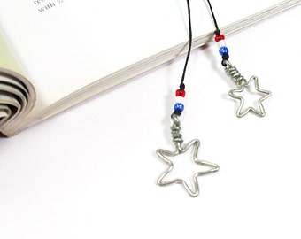 Handmade Star Bookmark, Patriotic Red White and Blue Bookmark, Star Bookthong, Gifts For Women