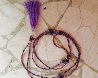 Hand beaded necklace with tassel
