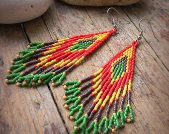 Beaded earrings, seed bead earrings, beaded jewelry