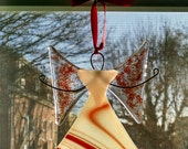 Fused Glass Angel Ornament - Valentines Gift - Suncatcher - Glass Art - Red Angel - Holiday Decor - Religious - Get Well Gift