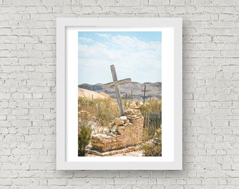 Southwestern Art Print, Texas Photography, Southwestern Wall Decor, Cemetery Photography, Southwestern Photography, Cemetery Art