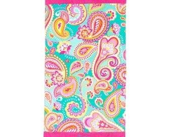 Personalized Paisley Beach Towel, Monogram Beach Towel, Embroidered Beach Towel, Pink and Mint Beach Towel, Personalized Paisley Pool Towel
