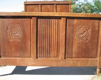 Art Deco Classic Oak Antique Headboard Bed frame