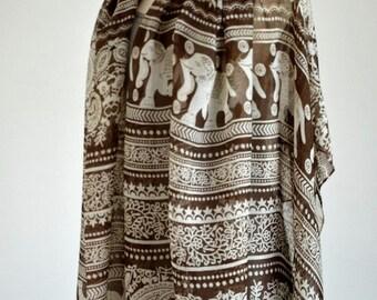 ON SALE -- Elephant Scarf Soft Cotton Scarf Bohemian Scarf Brown Shawl Spring Summer Fall Winter Scarf Fashion Pareo Women Accessories