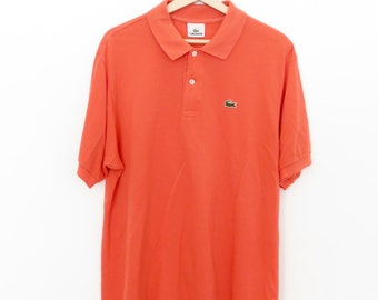 LACOSTE Vintage Salmon Orange Polo Shirt, sz. 6 = L