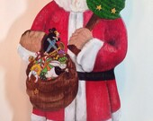 SANTA CLAUS Christmas Stocking Hanger with White Rabbit