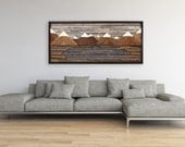 """Wood wall art, Mountain landscape, SALE 40% off with FREE SHIPPING 48"""" L x 21.75"""" H,"""