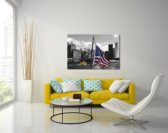 New York photography/boat skyline american flag/Black and White photography/Stars and Stripes/New York canvas/New York art/large canvas art