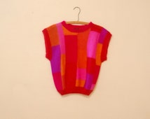 Bright Color-Blocked Mohair Sweater - 1980s