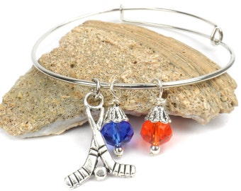 Expandable Wire Bangle Hockey Bracelet, Team Colors, School Spirit Jewelry, College, Pro Hockey