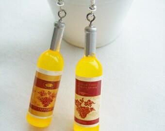 White wine plastic bottle earrings - wine bottle charm earrings - white wine jewelry - mini yellow wine bottle jewelry - festive wine gift
