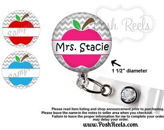 Teacher Badge Reel Holder - Retractable Apple Badge Reel - 3 - Colors - Choice of Badge Reel, Carabiner or Lanyard - 1425