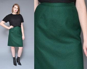 Forest Green Wool Skirt 80s 90s High Waisted Pencil Skirt L Minimal Mod Basic Knit Midi Skirt