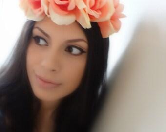 ROMANTIC Peach Rose Flower Crown, Floral Headband, Boho Headband, Floral Crown