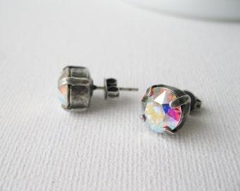 Aurora Borealis Stud Earrings, Crystal Rhinestone Post Earrings, AB, Bridesmaid Jewellery, Rainbow Earrings, Simple Classic.
