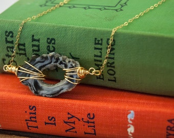 Gold Chain Gray Agate Geode Necklace
