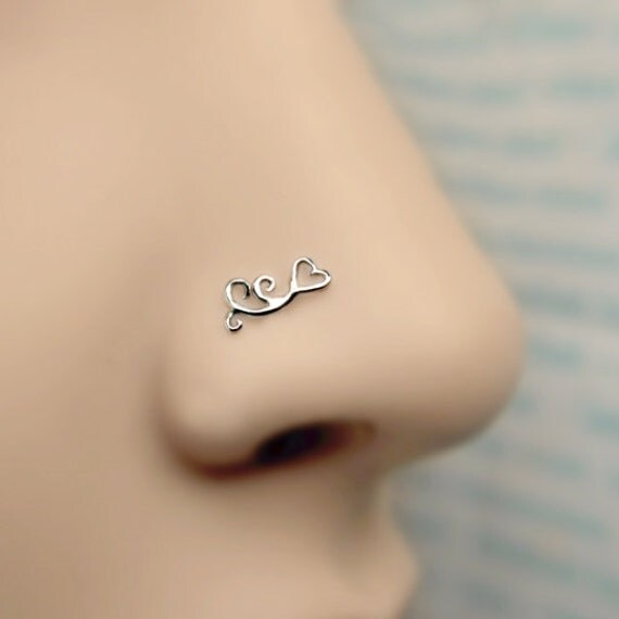 nose stud swirl 24k gold plated piercing sterling