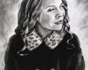 "Custom Portrait Drawing in Charcoal, One Subject, 9x12"" and larger"