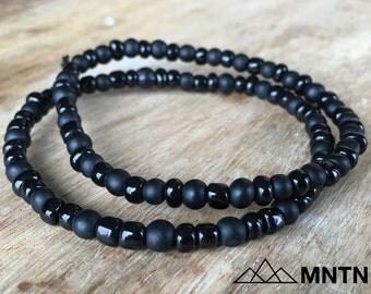 Gloss + Matte Black Bracelet 2-Pack Beaded Bracelet