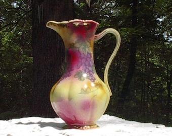 Antique Pitcher, Hand Painted, Gold Trim,  Vase