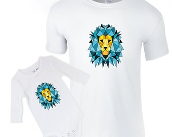 Dad baby clothes, daddy lion shirt, baby lion bodysuit, matching painted shirts, father's day, dad daughter apparel