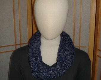 Blue Metallic Patterned Infinity Scarf