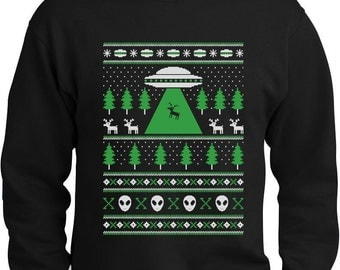 Alien Reindeer Abduction Ugly Christmas Sweater Men's Crewneck Sweatshirt