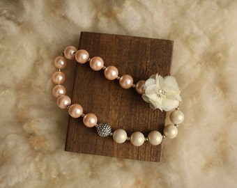Ivory and Blush Chunky Necklace, Photography Prop, Couture, Cake Smash, gift, Newborn, Baby, Toddler, Child