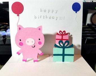 Pop Up Card - Pig - Happy Birthday