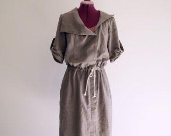 100% linen boho wrap trench dress jacket bohemian artsy relaxed casual
