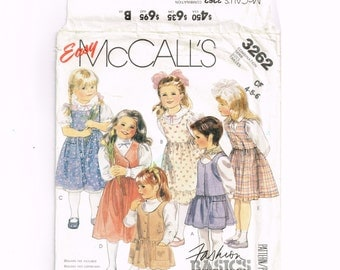 McCalls 3262 Little Girls Dress Pattern, Size 4-5-6 Uncut, Vintage 80s Sewing, classic style jumper, childrens clothing pattern