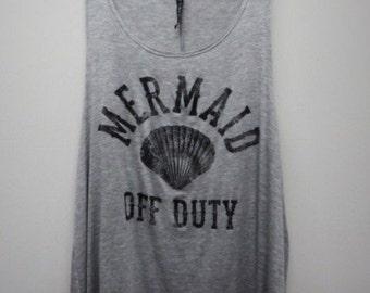 Mermaid Off Duty Graphic Tank Top, Mermaid Shirt, Boho, Mermaid