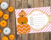 INSTANT DOWNLOAD - Well Wishes for Baby - Little Pumpkin Theme - Pink Stripes - DIY - Printable