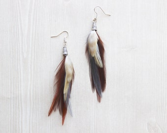 Natural Brown and Ivory Feather Earrings