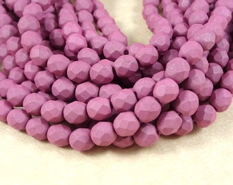 Czech Beads, 6mm Czech Glass Fire Polished Beads, 6mm Faceted Round Beads - Saturated Matte Lavender (FP6/SM-29565) - Qty 25
