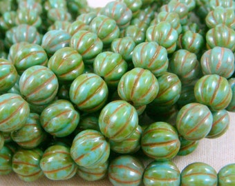 Czech Beads, 8mm Melon, Czech Glass Beads, Picasso Beads - Turquoise Picasso (D8M/SM-T6313) - Qty. 25