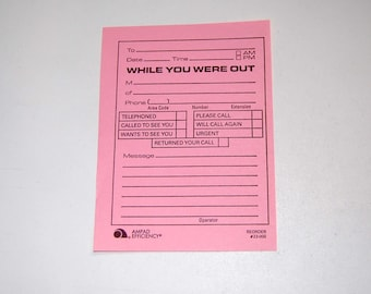 While You Were Out...10 Vintage Note Pad Sheets, Pink Paper