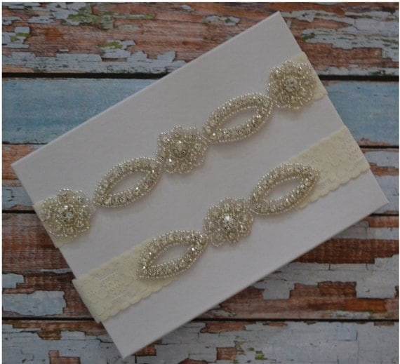 Wedding Garter SALE Wedding Garter Set By SpecialTouchBridal