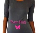 "Maternity shirt ""Team Pink"" or ""Team Blue - cute maternity shirt, pregnancy clothes- pregnancy announcement, gender reveal shirt."
