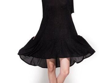 Short dress / evening dress / oversize dress /black dress / peplum dress / lurex black dress