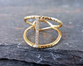 Diamond Bar Ring - Pave Tiny Diamond Bar, Thin, Modern, Available in 14K Yellow, Rose and White Gold, Minimalist Diamond Ring