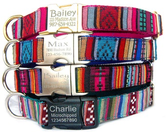 Personalized ID dog collar Engraved metal buckle pet ID tag dog collar Tribal Boho Bohemian Aztec embroidered dog collar Girl boy dog collar