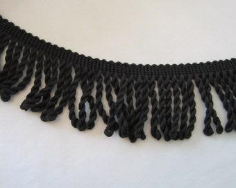 "Black Cotton Bullion Fringe - 3"" Wide  --  More Available"