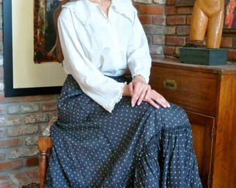 1800s Prairie Skirt  Black Calico Print Ruffles Full Length Maxi Tiered Rustic Antique