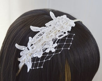 Guipure lace headband with embellishment, wide net, off white, cream or brown headband