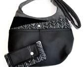 Bag 'ZIGZAG' black gray fabrics teflon and polyurethane - Black-gray 'ZIGZAG' fabric and polyurethane bag