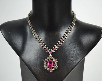 1950s/60s Vintage Necklace with Pink & White Diamante Pendant