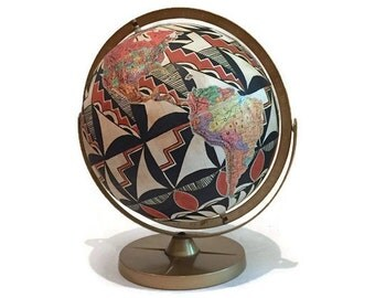 Vintage World Globe Pueblo Acoma Pottery Inspired Hand Painted Southwest Rustic Decor Modern Eclectic Bohemian Globe Double Axis Tilting